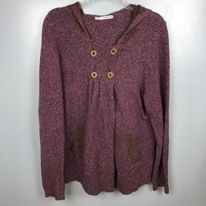 Maurices Knit Button Hooded Sweater Cardigan